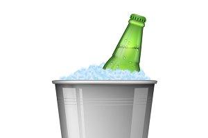 Beer on ice in metal bucket