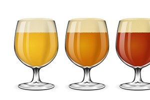 Beer glass vector set