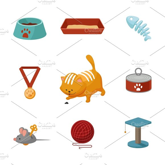 Domestic Cat Cartoon Icons Set