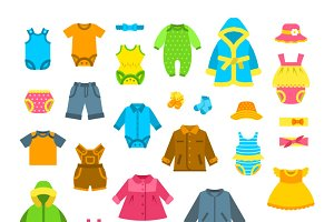 Baby Clothes Flat Illustrations