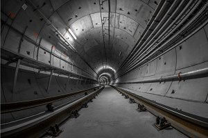 Underground tunnel for the subway