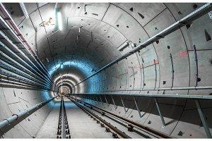 Underground tunnel with blue lights