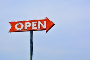 Open sign.