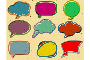 Vintage speech bubbles on the cardboard