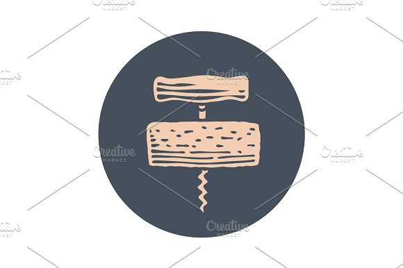 Icon Of Corkscrew In Circle On White Background
