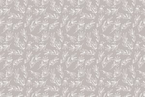 Grey + White Botanical Leaf Pattern