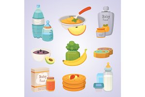 food for baby in cartoon style