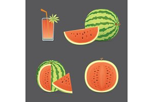 red juicy watermelon vector