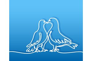 Two doves logo. White on blue gradient background