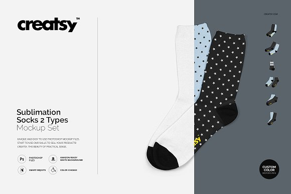 Sublimation Socks 2 Types Mockup Set