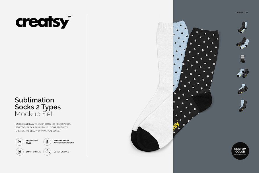 Sublimation Socks 2 Types Mockup Set ~ Product Mockups ~ Creative Market