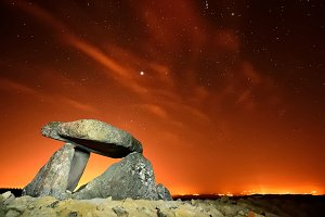 Dolmen in red night