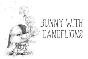 Bunny with dandelions
