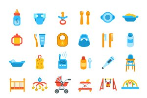 Baby Care Flat Vector Icons
