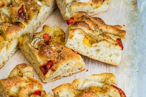 Italian focaccia with bell peppers