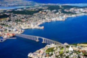 Norway Tromso bridge bokeh background