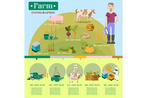 Farm Lifestyle Infographic Colorful Vector Poster