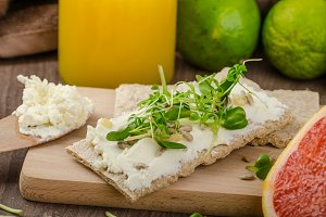 Healthy breakfast, Crispbread with organic cream cheese