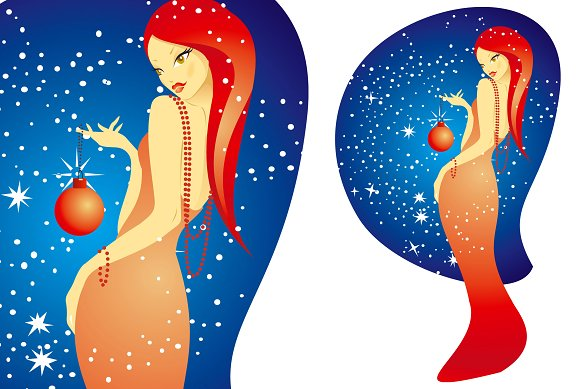 Christmas woman in Illustrations