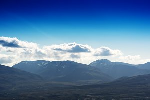 Norway mountains with cloudscape background