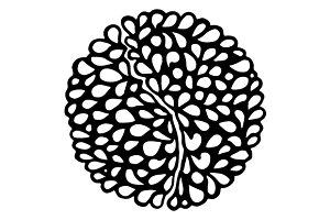 Doodle monochrome mandala art vector