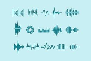 15 Audio Waveform Icons