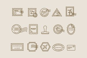 15 Postage Stamp Icons