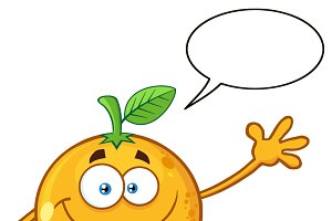 Orange Fruit With Speech Bubble