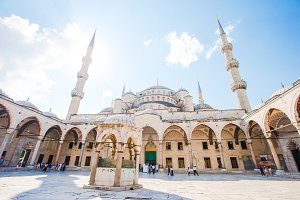 Courtyard of Blue Mosque - Sultan Ahmed or Sultan Ahmet Mosque in Istanbul city.