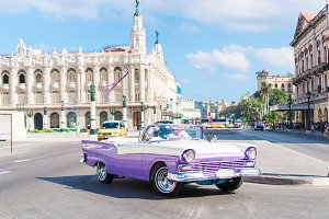 View of a street of Old Havana with old vintage American car