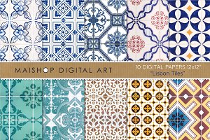 Digital Papers - Lisbon Tiles