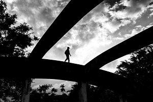 Bridge and man silhouette