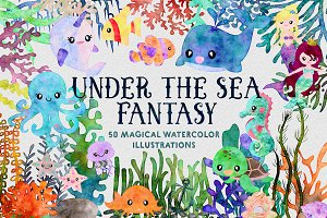 Ocean Fantasy Watercolor Bundle