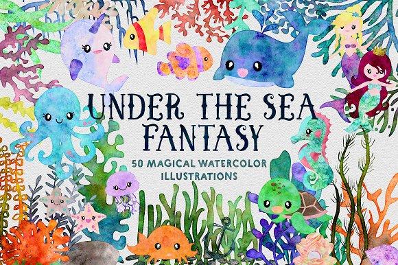Ocean Fantasy Watercolor Bundle