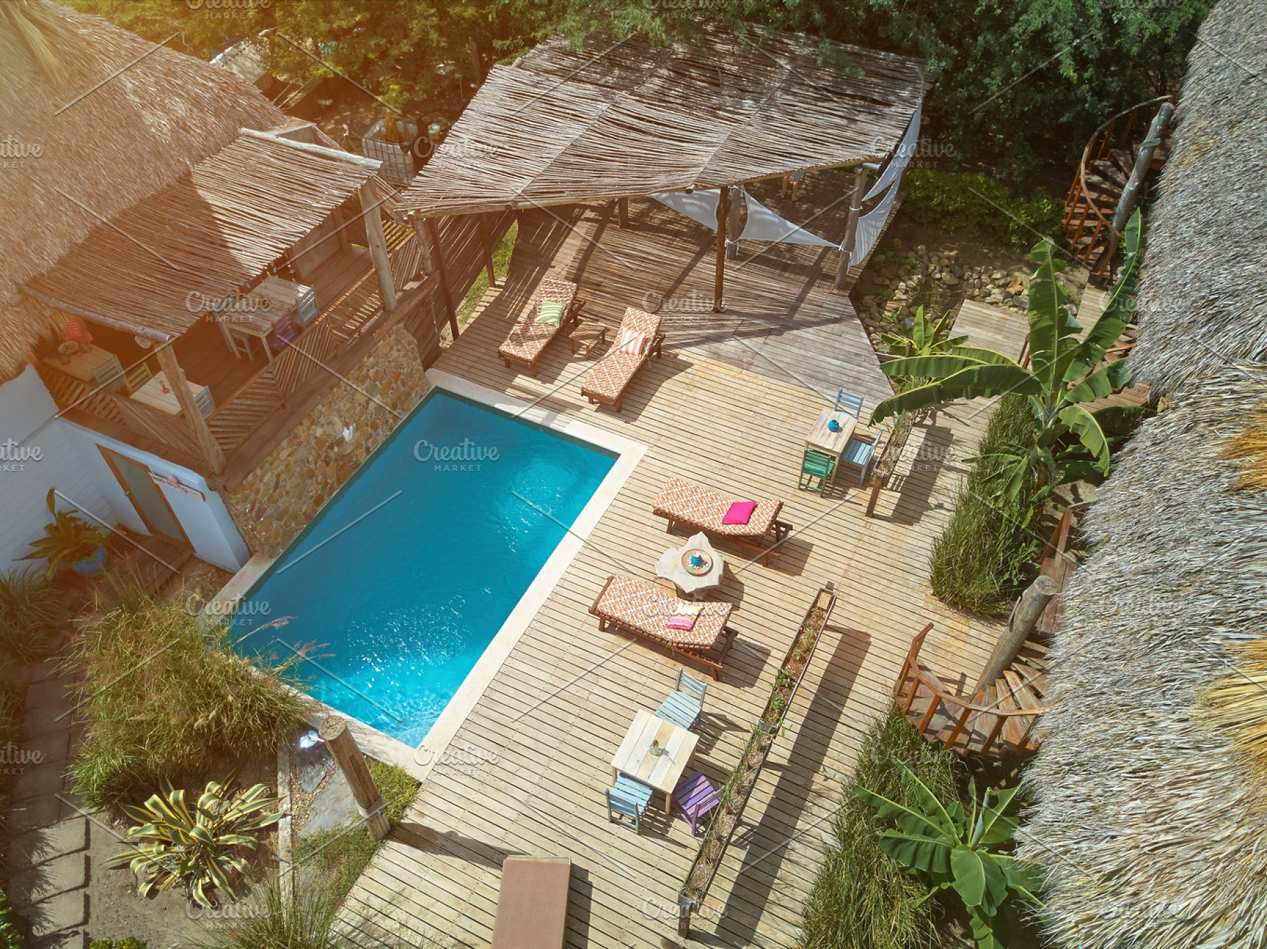 Clean swimming pool in eco lodge