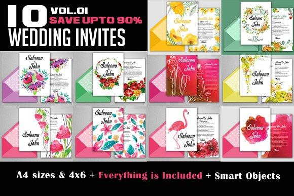 10 Wedding Invites Bundle Vol.01