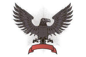 Eagle with wings and red ribbon