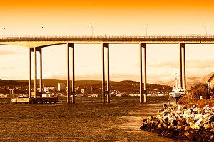Norway city bridge during sunset background