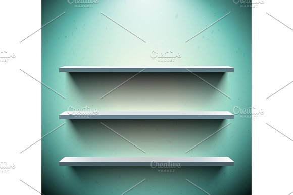 Three Shelves On Blue Wall