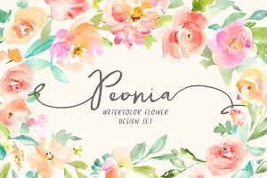 Peonia Watercolor Design Set
