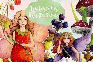 Watercolor Fruit Fairy Cliparts