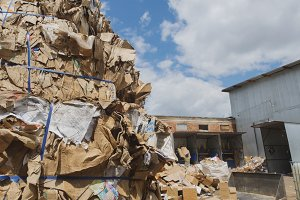 Heaps of cardboard at industrial landfill, ecology concept