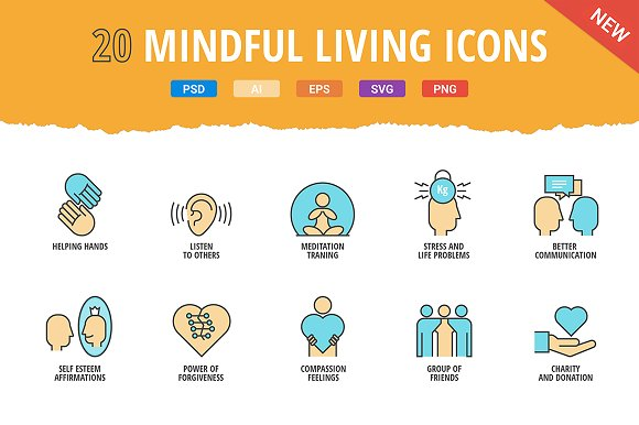20 Mindful Living Icon Set