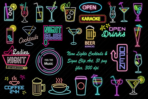 Neon Lights Cocktail Signs