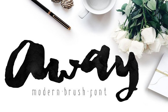 Away font modern brush calligraphy display fonts