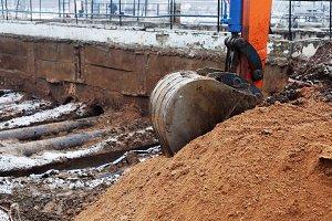 excavator arm and backhoe