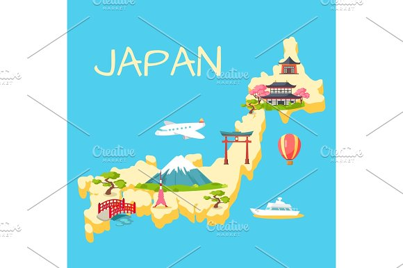 Travel In Japan Touristic Flat Vector Concept