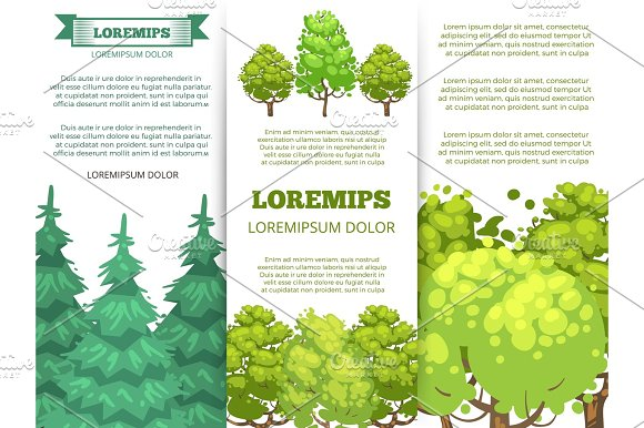 Eco Banner Template Forest Banners With Colorful Trees Design