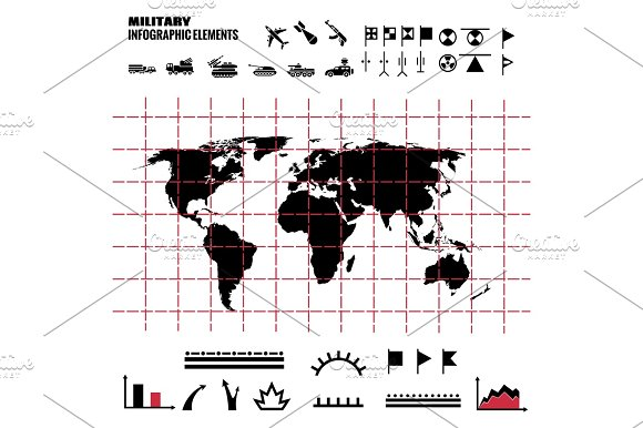 Military Infographics Elements With World Map And Icons