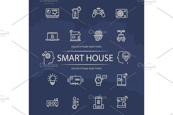 Smart House Line Icons Collection